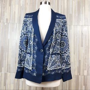 Zara Basic | Blue White Paisley Button Blazer M